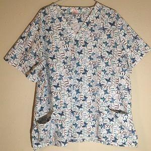 Fashion Seal TLC Butterfly Pattern Scrub Top XL
